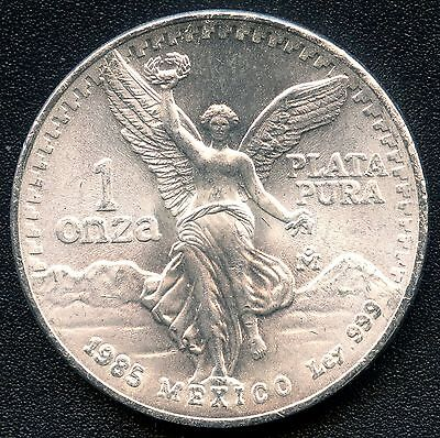 1985 Mexico 1 Ounce Silver Coin ( 31.1 Grams .999 Silver )