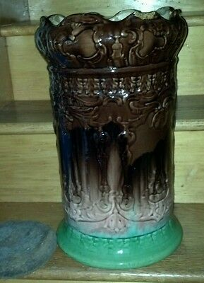 Antique 1900? Pottery Umbrella Stand Unknown Maker with Removable Cork Insert.