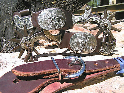 Cowboy Western Men's spurs WITH jingle bobs and leather straps