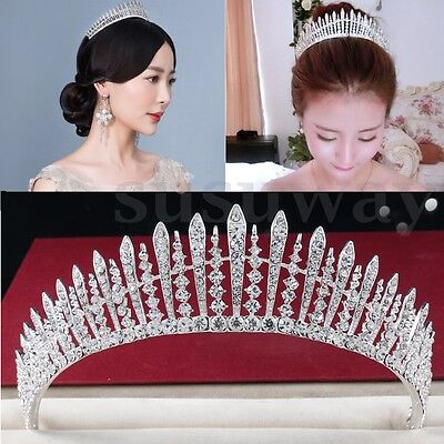 Silver Twinkling Crystal Wedding Bridal Prom Party Pageant Jewelry Tiara Crown