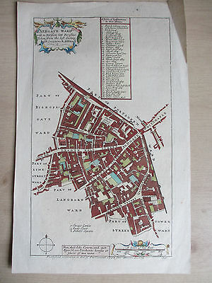 Plan of Aldgate Ward, London from Stowe's Survey, 1754, hand-coloured