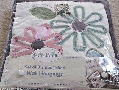 New 3pc DANIELA Wall Hangings Appliqued Embroidered Flower Pink Girl  Sumersault