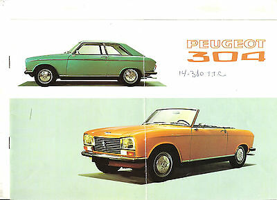PEUGEOT 304 COUPE CABRIOLET 1970 / catalogue brochure prospekt catalog dépliant