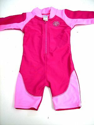 Cute Girls Adams Red Pink Zipped Uv Sun Suit Age 6-9 Months