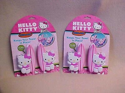NIP 2 pkgs BOCA Towel Clips HELLO KITTY for Chairs Cruise Picnic Pool Boat Camp
