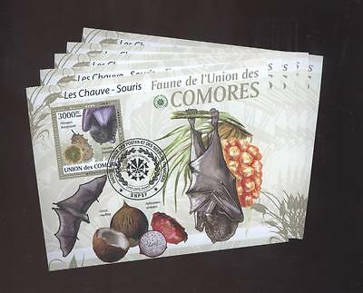 (cto1240) 5x cto Fruits, Small lot, Bat, Comoros
