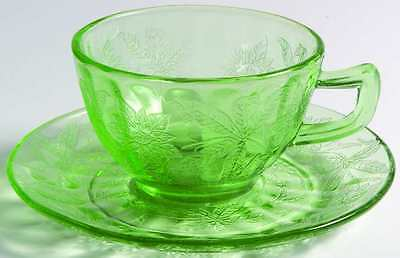 Jeannette Glass FLORAL GREEN Cup & Saucer 1164247