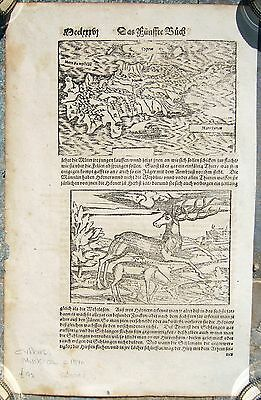 ANTIQUE RARE MAP OF CYPRUS SEBASTIAN MUNSTER WOODCUT GERMAN EDITION c. 1570
