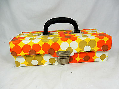 Beautiful original 70´s Flower Power Design Musik Kasetten Koffer / box / MC box