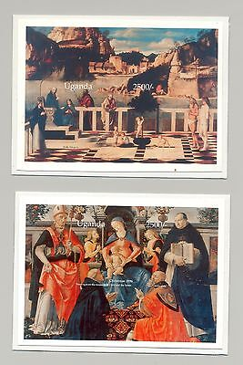 Uganda 1996 Christmas Art 2v S/S Imperf Chromalin Proofs Mounted on Cards
