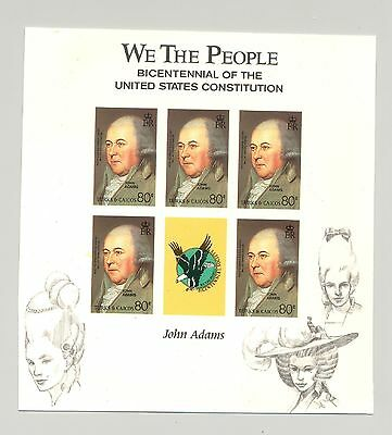 Turks & Caicos 1987 John Adams M/S of 5 Unissued Imperf Chromalin Essay
