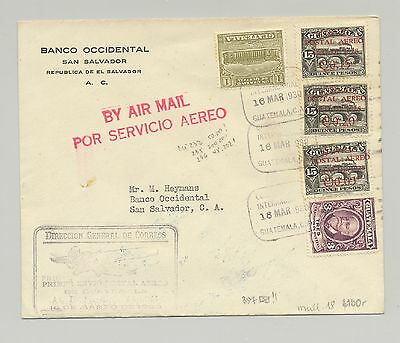 Guatemala 1930 First Flight cover to San Salvador with Arrival Mark on reverse.