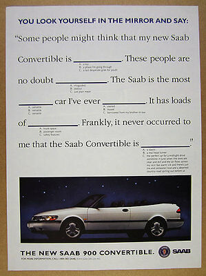 1994 Saab 900 Convertible white car photo vintage print Ad