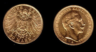Prussian 20 gold marks 1899--A PROVEN SURVIVAL COIN--KAISER WILHELM II Pre WW-I
