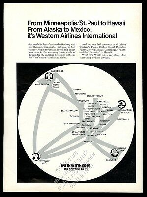 1970 Western Airlines system air map vintage print ad