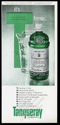 1963 Tanqueray gin bottle and pitcher color photo vintage print ad