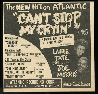 1952 Laurie Tate Joe Morris photo Can't Stop My Cryin Atlantic Records trade ad