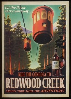 2004 Redwood Creek wine skyride gondola art vintage print ad