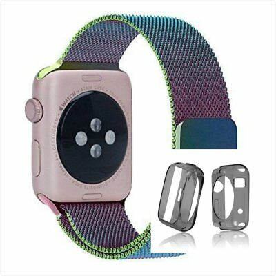 Colourful Milanese Metal Band Strap For Apple Watch 42mm Clear Black Case