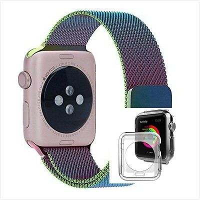 Colourful Milanese Stainless Metal Band Strap For Apple Watch 42mm Clear Case