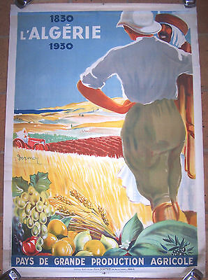 Affiche Ancienne Art Deco Orientaliste Algerie Production Agricole Dormoy 1930