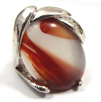 Vintage Costume Ring Red White Glass Silver tone Size 5.5 Estate Jewelry