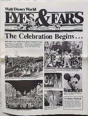 Rare Oct 1986 Disney Wdw Eyes & Ears Cast Newsletter 15Th Anniversary Begins
