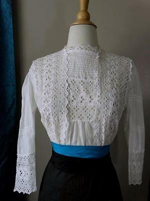 Antique 1910s Edwardian Lace Blouse Pintucks Embroidered Eyelet S XS