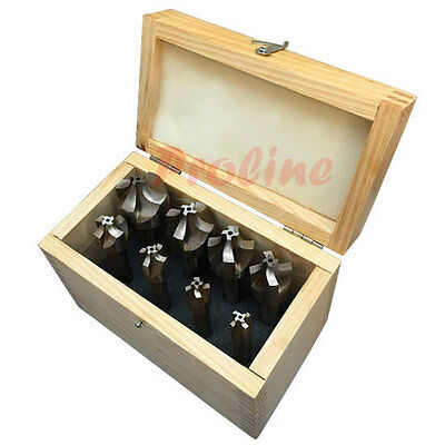 8 PC HSS 4 Flute 1/16-3/8'' Corner Rounding End Mill Set Shank Milling Cutter