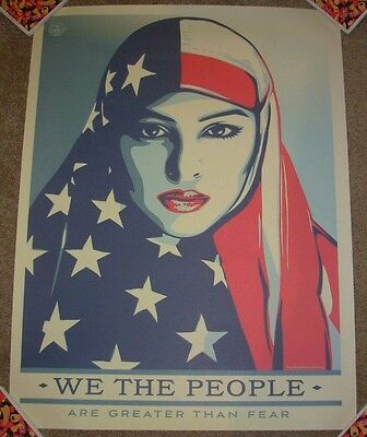 SHEPARD FAIREY poster 18X24 WE THE PEOPLE GREATER THAN FEAR obey giant art print