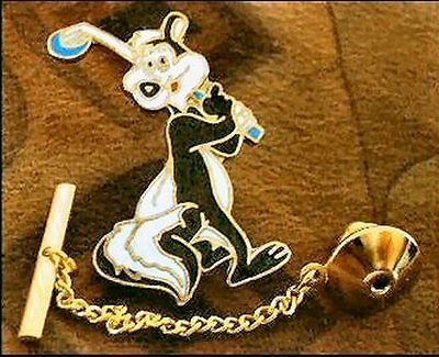 Pepe Le Pew Golfing Tie Tack Pin and Chain Clasp