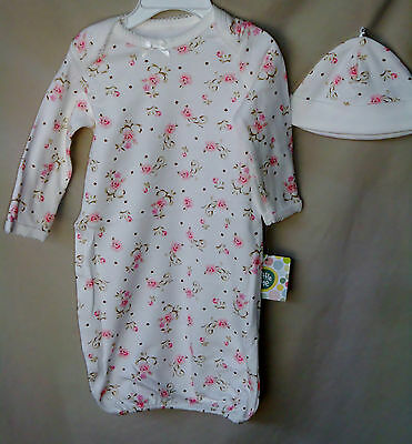 LITTLE ME 100% Cotton Ivory Vintage Rose Print GOWN w/Hat GIRL SIZE 0-3M  NWT