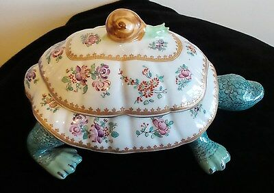 Vintag Porcelain Turtle  Tureen Handpaited Porcelaine De Paris France Signed
