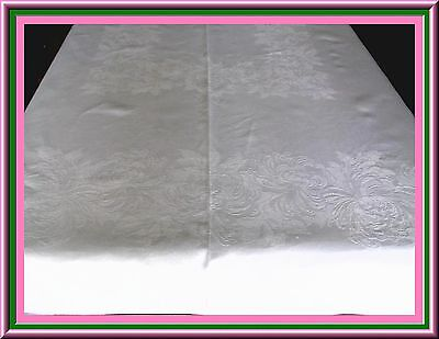 Fabulous Antique Linen Damask Tablecloth With Chrysanthemums Design - Great Cond