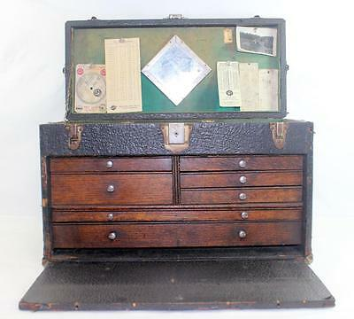 Rare J.I. Case Baker Case Machinist Leather Wrapped 7 Drawer Tool Box Chest
