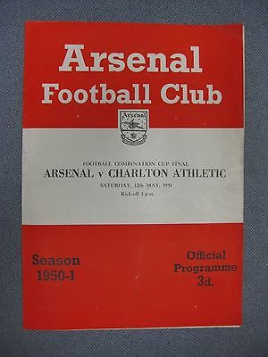 Arsenal v Charlton Athletic  Combination Cup Final 1951 Programme