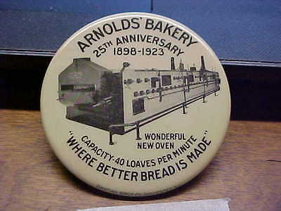 ARNOLDS BAKERY 1923 25th Anniversary Bread Celluloid Advertising Pocket Mirror