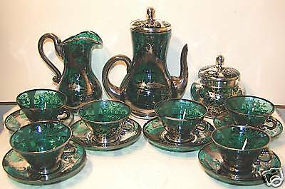 Silver Decorated 15 Piece Blue Green Teal Glass Demitasse or Chocolate Set