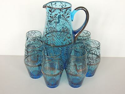 Vintage Venetian Glass Silver Overlay Cobalt Drink Set Pitcher tumblers italy