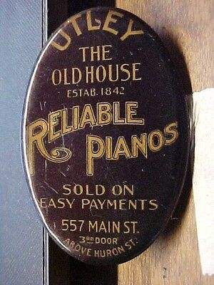 UTLEY The Old House RELIABLE PIANOS Celluloid Advertising Pocket Mirror