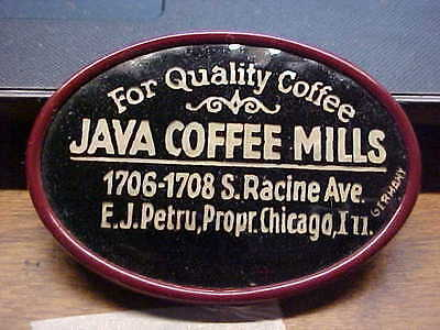 IL Chicago JAVA COFFEE MILLS Celluloid Advertising Pocket Mirror