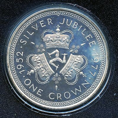 1977 Isle Of Man 1 Crown Silver Coin With COA (28.28 Grams .925) Queen's Jubilee
