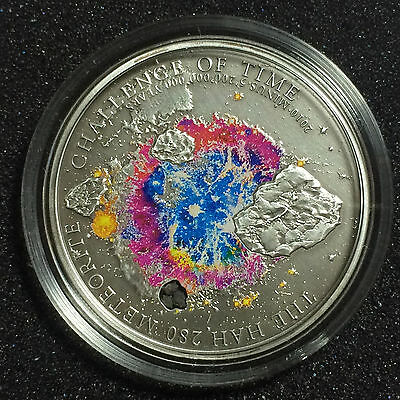 2010 METEORITE Insert HAH 280 SIlver $5 Coin CHALLENGE OF TIME Cook Islands