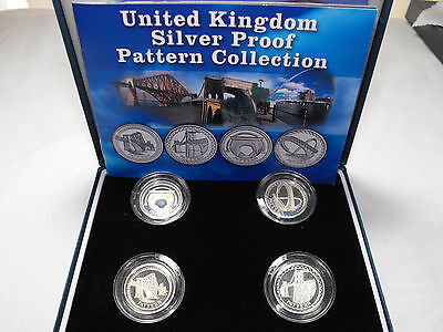 2003 United Kingdom SILVER PROOF PATTERN Collection BRIDGES 4 Coin Set Case COA