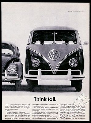 1961 VW Volkswagen Bus microbus & Beetle photo Think Tall 11x8 vintage print ad