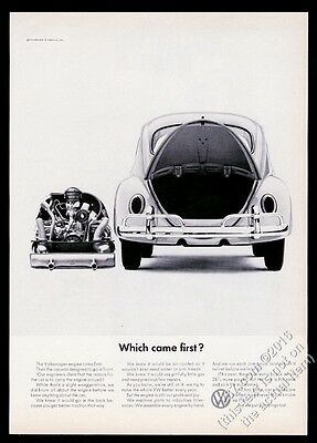 1966 VW Volkswagen Beetle classic car & engine photo Which Came First? 11x8 ad