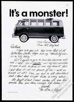 1963 VW Volkswagen Bus microbus photo It's A Monster 11x8 vintage print ad