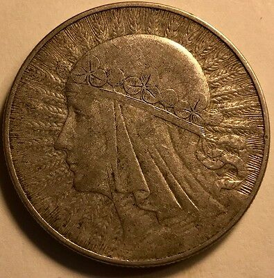 POLAND - 10 Zlotych - 1933 - Large Silver Coin - FREE SHIPPING
