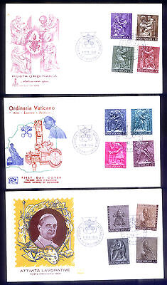 3 Vatican City First Day Covers Posta Ordinaria 1966 Unused 12 Stamps
