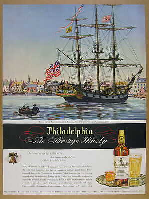 1945 Man-of-War Alfred warship ship art Philadelphia Whiskey vintage print Ad